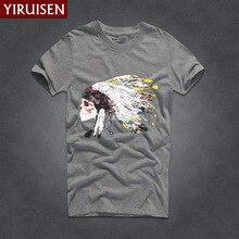 Hot Sell 9 Colors Summer Indian Headdress Print T Shirt Men 100% Cotton Short Sleeve Men t-shirt Fashion Brand Clothing Tops Tee