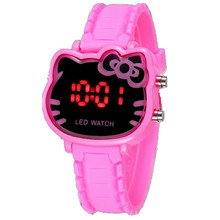 Digital Wristwatches for Girls with Cartoon Kitty Design