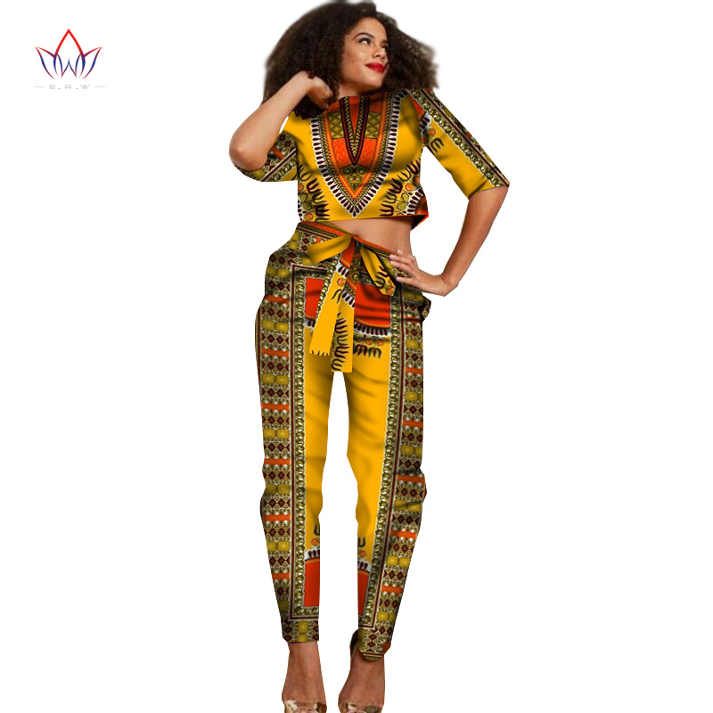 e4d9ac0dec6c8 Best Price 2017 New African Clothes Half Sleeve Crop Tops 2 Piece Set Women  Clothing Long Pants African Print Pants Women 6XL BRW WY1374 For Sale at ...