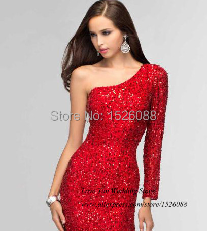Sparky Elegant Long Sleeve Evening Dresses Sequined Silver Red Mermaid Prom  Dress 2015 Women Formal Gowns Vestidos de Gala-in Evening Dresses from  Weddings ... d7d419e8ae5f