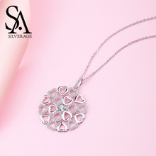 SA SILVERAGE Real 925 Sterling Silver Heart Pendant Sweater Chain Necklace Circle Zirconia Silver Pendant Necklace Long Necklace 925 pure silver silver manufacturers china wind auspicious elephant pendant and intime stereo sweater chain pendant