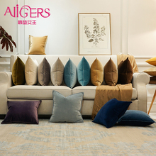 Avigers Luxury Velvet Soft Cushion Cover Color Pillow Home Decorative Case for Sofa Navy Blue Gray White Yellow