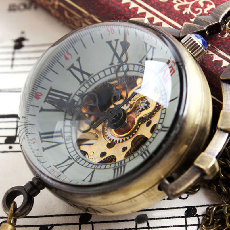 Steampunk Galss Ball Big Eyes Transparent Pocket Watch Roman Numbers Dial With Necklace Chain
