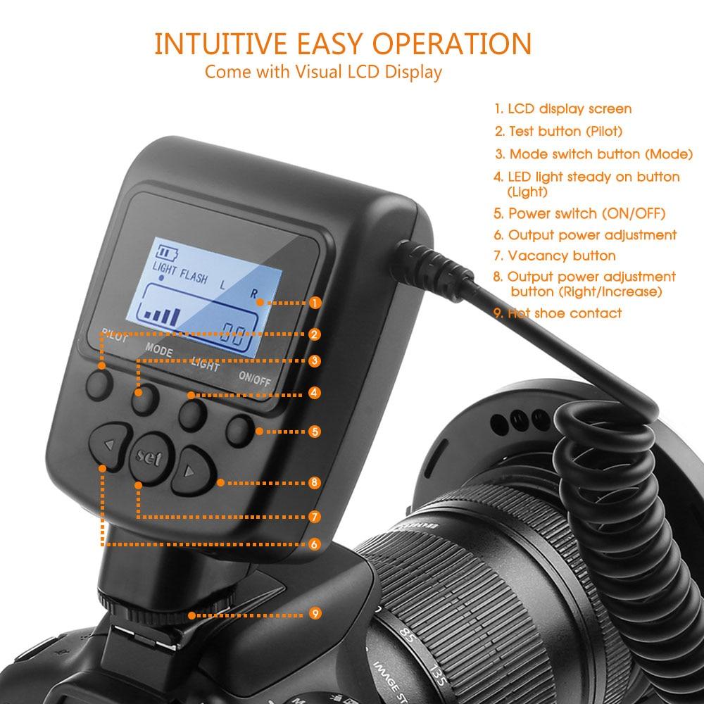 Travor RF 550D LED Macro Ring Flash light with 8 adapter ring For Nikon Canon Panasonic Camera 4