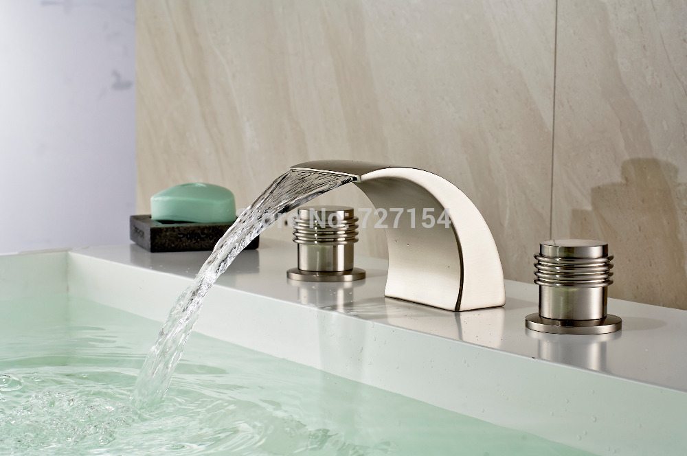 Free Shipping! Deck Mounted Nickel Brushed Basin Faucet Waterfall Spout Sink Mixer Dual Handles