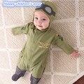 2 PCS Outono/Inverno Macacão Babys Roupas Meninos Recém-nascidos Meninas Piloto Macacão de Bebê + Chapéu Macacão Roupas