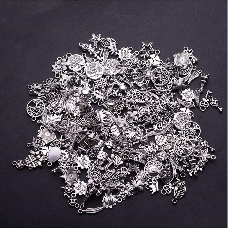 30pcs Tibetan Silver Mixed Styles Leaf Heart Key Crown Charms Pendants DIY Jewelry for Necklace Bracelet Making Accessaries(China)