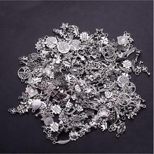 30pcs Tibetan Silver Mixed Styles Leaf Heart Key Crown Charm