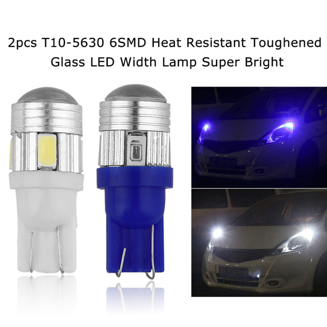 2 stks T10 5630 6SMD Hittebestendige Gehard Glas LED Sterke ...