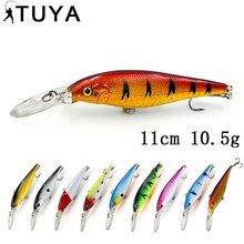 TUYA Crankbait Minnow wobblers Fishing Lure twarda przynęta sztuczne trolling wobbler Cranks twitching lure pike Bass 11cm 10.5g(China)