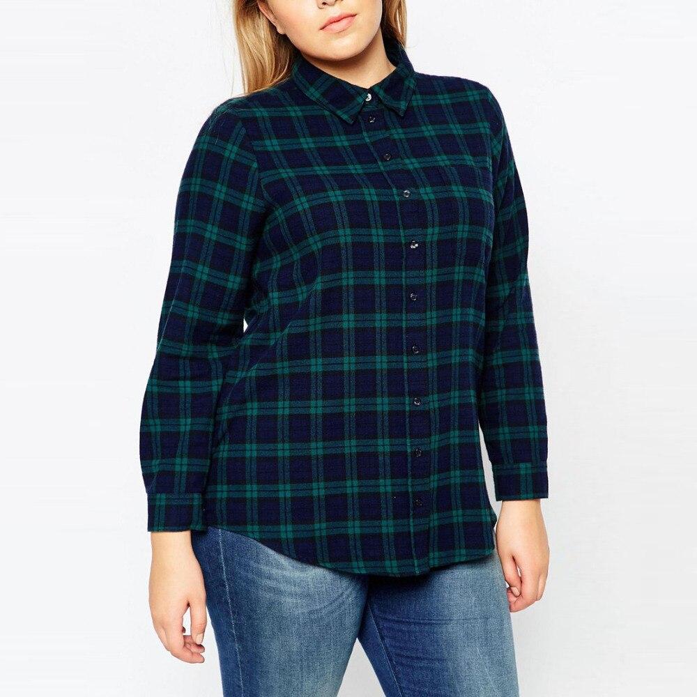 Plaid Femmes Chemises Blouse Plus La Taille Tops XXXXL Printemps Automne à  Manches longues Mode Lâche Grandes Tailles Grande Femelle Vêtements xxxl XL 4631c8039585