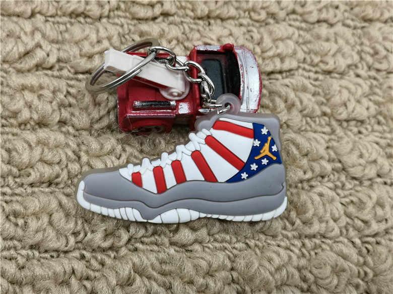 Sıcak Mini Silikon Jordan 11 AJ Ayakkabı çanta anahtarlığı Charm Kadın Erkek Çocuklar Anahtarlık Hediyeler Aksesuarları Sneaker Anahtarlık Kolye
