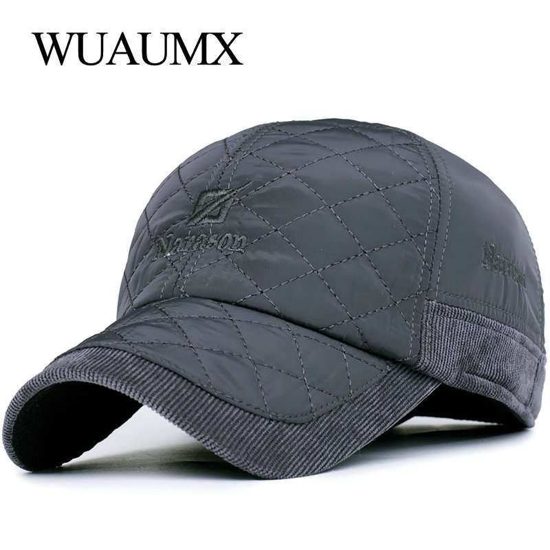 Wuaumx Autumn Winter   Baseball     Caps   For Men Keep Warm Hat With Earflaps Cotton Thicker Bone Snapback   Cap   Men Russian Casquette