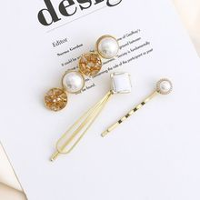 3Pcs Minimalist Jewelry Boutique Hairpins Ladies Faux Pearl Crystal Wedding Party Hair Styling Clips Elegant Side Bangs Barrette