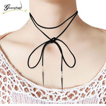 1PCS Rivet Pendant Black Suede Leather Cord Necklace Clavicle Choker Neck Strap Decoration Women Jewelry(China)