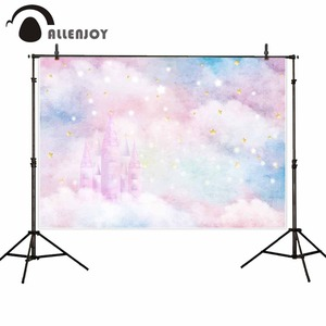 Image 2 - Allenjoy backgrounds for photography studio glitter stars castle colorful clouds baby shower backdrop birthday party photocall