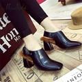 Ms. Noki británico de moda mujer botas tobillo tacones altos dedo del pie cuadrado de la vendimia de la pu de cuero bombas de piel de mujer casual botines cortos zapatos