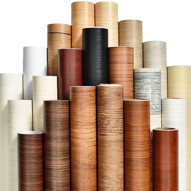 Grão de madeira PVC papel de parede para Cozinha Filmes recondicionados roupas closet porta do armário móveis para escritório em casa Decoração da parede adesivo