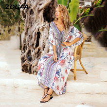 ZOGAA Bohemian Women Summer Floral Print Dress Loose Fit Batwing Sleeve V-neck Patchwork Elegant Casual Holiday Beach Lady