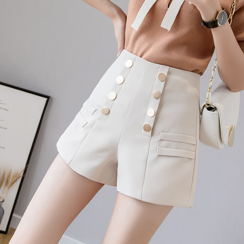 Fashion casual wide leg   shorts   women 2019 summer korean a line hot   short   pants female double breasted high waisted women   shorts