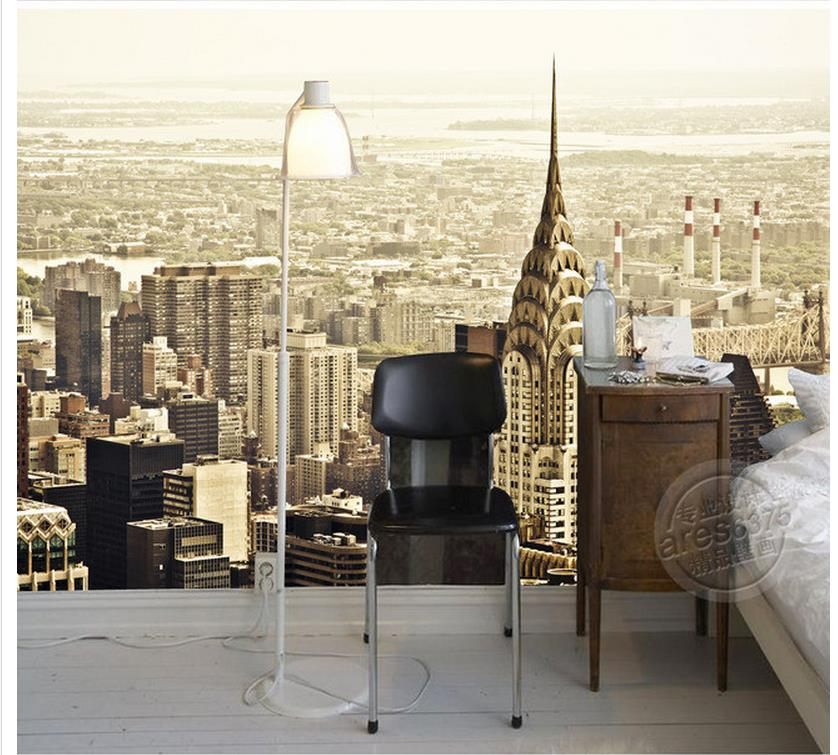 Home Decoration Empire State Building Urban Skyscrapers Retro Mural Background Wall living 3d wallpaper