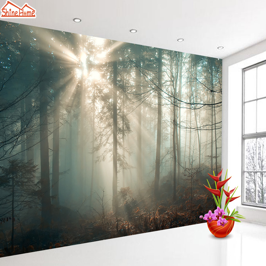 Wall Papers Home Decor Mural Wallpaper 3d Wall Murals Rolls For 3 D Living Room Wallpapers Foggy Forest Sunshine Papel De Parede