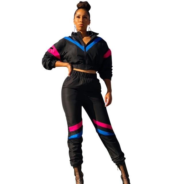 985c5aa671bf Zmvkgsoa Spring Casaul Tracksuit Women 2 Piece Set Top And Pants Satin Striped  Zipper Sexy Sweatshirt