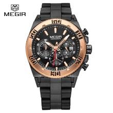MEGIR мужские часы Топ Люксовых брендов хронограф спортивные часы мода световой Mascu бегущий человек кварцевые наручные часы Relogio 3009
