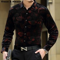 Floral printing high end gold velvet boutique long sleeved shirt 2018 Autumn&Winter New fashion casual quality men shirt S 4XL