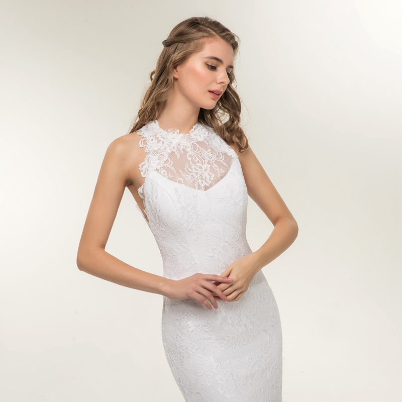 Beautiful Appliques Lace Backless Princess Beach Mermaid Wedding Dress