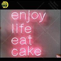 Наслаждаться жизнью съесть торт неоновая вывеска Очаровательная ручной неоновый свет знак украсить дом Спальня знаковых Книги по искусств