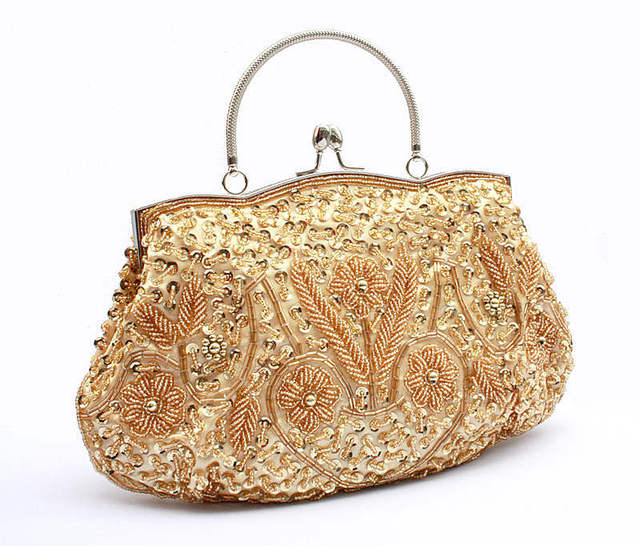 2017 Fashion Vintage Beaded Evening Bags Party Handbags for ladies Wedding Party Handmade Embroidery flower chain Crossbody bags