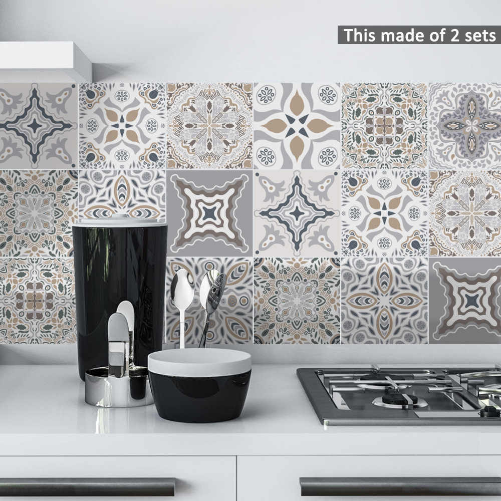 Funlife Decorative Moroccan Tiles PVC Tile Stickers,Retro Wall Art Decal,Adhesive Waterproof Kitchen Bathroom Furniture Decor