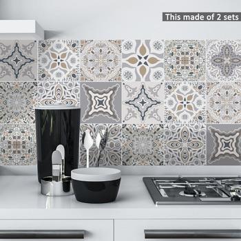 Funlife Decorative Moroccan Tiles PVC Tile Stickers,Retro Wall Art Decal,Adhesive Waterproof Kitchen Bathroom Furniture Decor