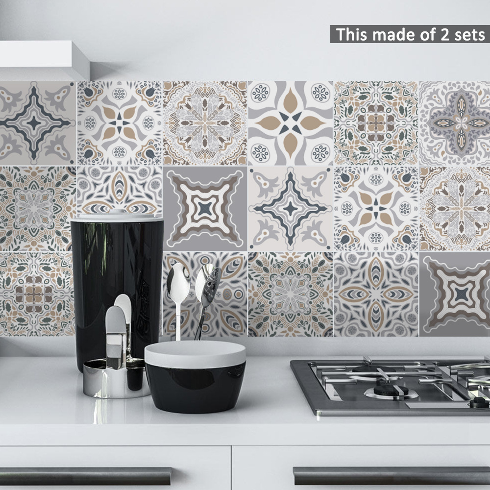 100pcs Kitchen Tile Stickers Bathroom Mosaic Sticker Self-adhesive 3D Wall Decor