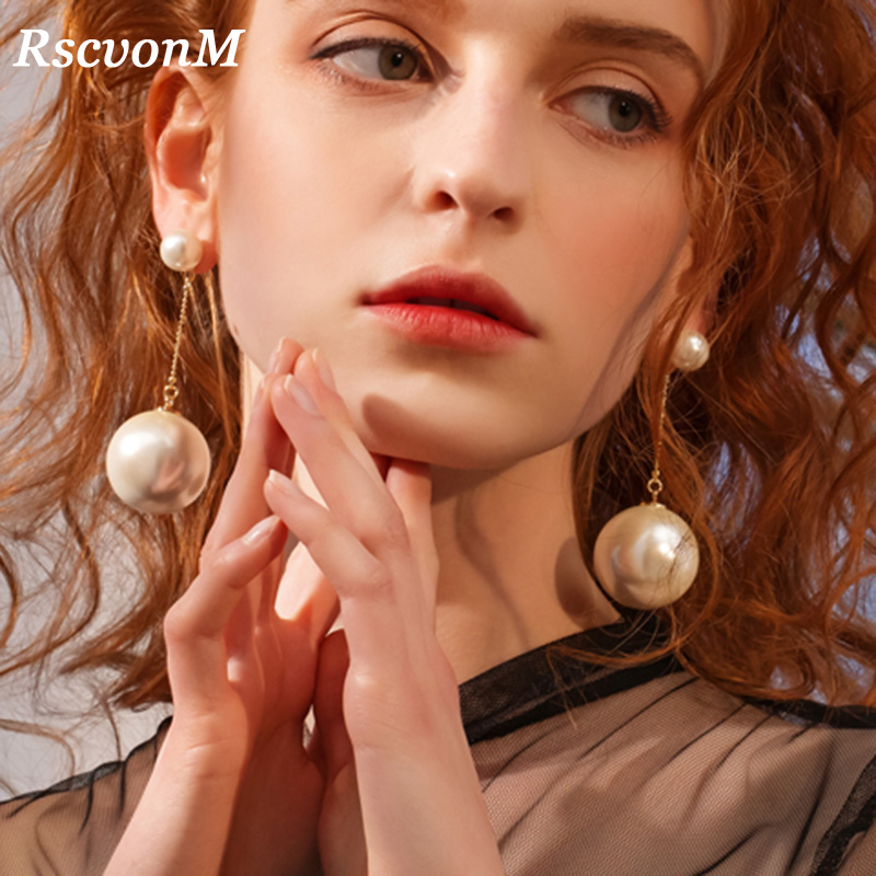 RscvonM Wedding Jewelry Double Side Big Pearl Earring Wedding Earrings Big Ball Earrings Women Party Bead Ear Jewelry