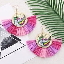Vintage Tassel Raffia Earrings for Women Wicker Woven Rattan Earring  Bohemian Multicolored Earing Summer Jewelry Pendientes