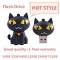 Nueva capacidad verdadera del Silicón Lindo de la Historieta Gato Negro USB Unidad Flash USB Stick 16/32/64/128/256/512 GB Memory Stick Pen Drive Caliente!!