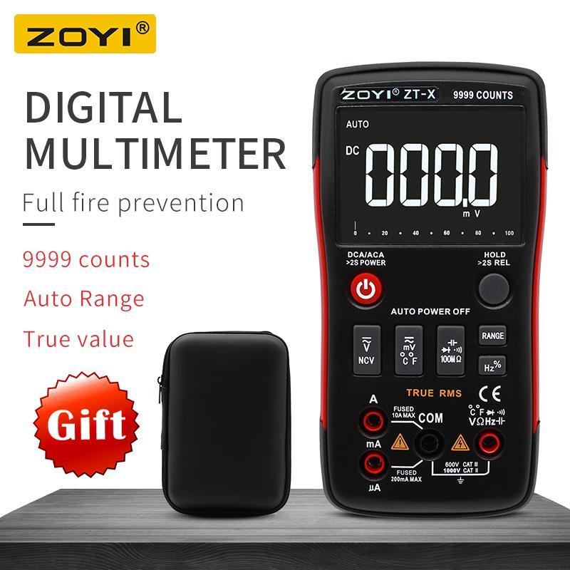 ZOYI ZT-X-True RMS AUTO Faixa de Multímetro Digital AC/DC Voltímetro Amperímetro NCV 9999 contagens HOLD backlight LCD exibição como RM409B