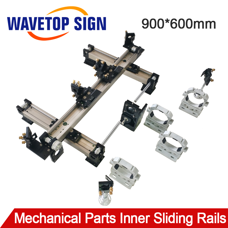 WaveTopSign Mechanical Parts Set 900 600mm Inner Sliding Rails Kits Spare Parts for DIY 9060 CO2