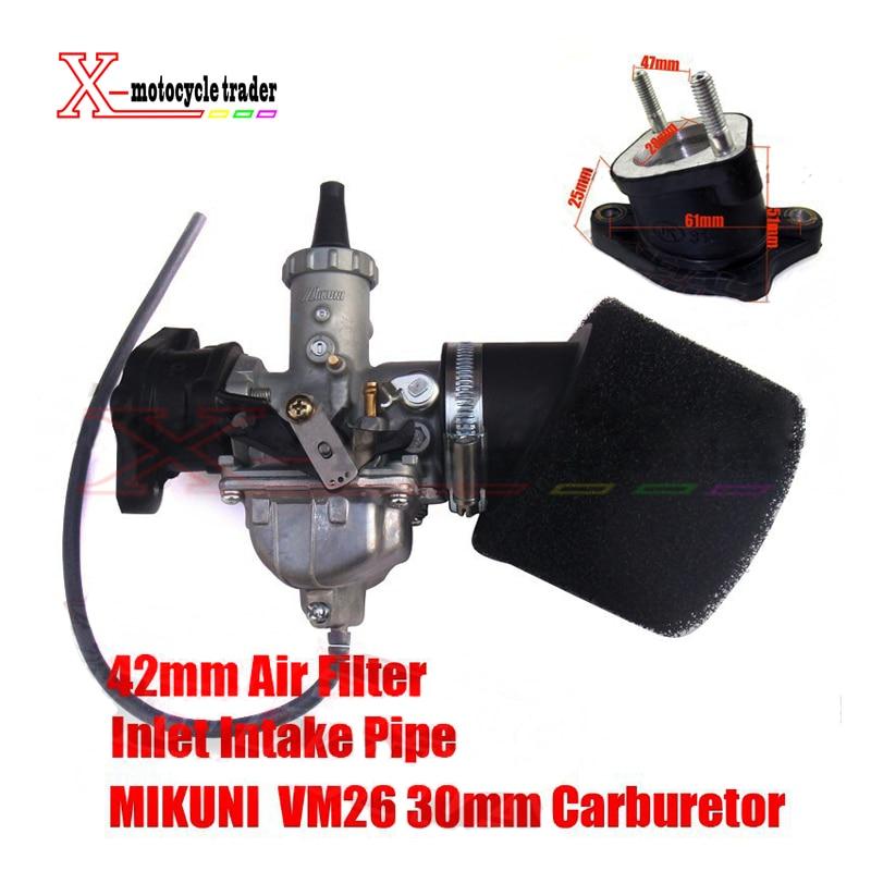 все цены на MIKUNI Carburetor VM26 PZ30 Kit + Inlet Intake Pipe Air Filter 200cc 250cc Dirt Bike Pit Pro IRBIS KAYO Motorcycle Carburetor онлайн