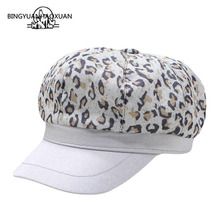 BINGYUANHAOXUAN Beret Caps Ladies Fashion Leopard Print Hats For Women Men Flat Female Military Cap Belt Feminina