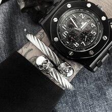 Fashion Brand Northskull Open Cuff Bangle Men Jewelry Punk Black CZ Eyes Skull Bangle Titanium Steel Bracelet For Male Homme