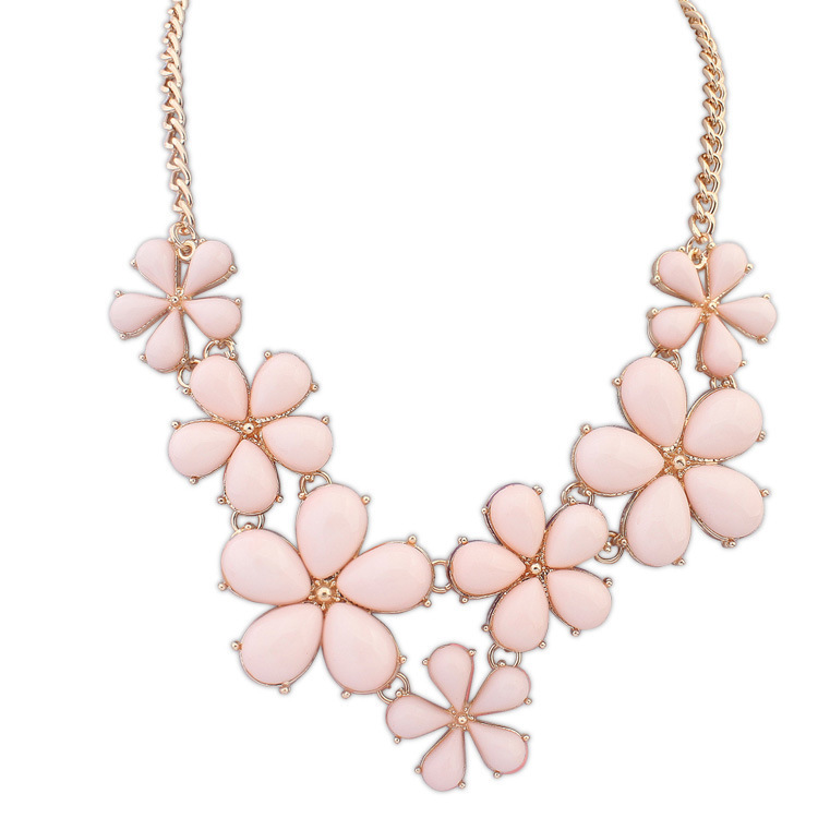 Fashion necklace collier femme womens jewelry pink flowers chain fashion necklace collier femme womens jewelry pink flowers chain colar statement necklace n1236 in pendant necklaces from jewelry accessories on mightylinksfo