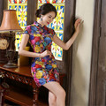 2016 Summer Style Vintage Women Chinese Traditional Velour Cheongsam Short Sleeve Flower Qipao Dress Sexy Party Chinese Elements
