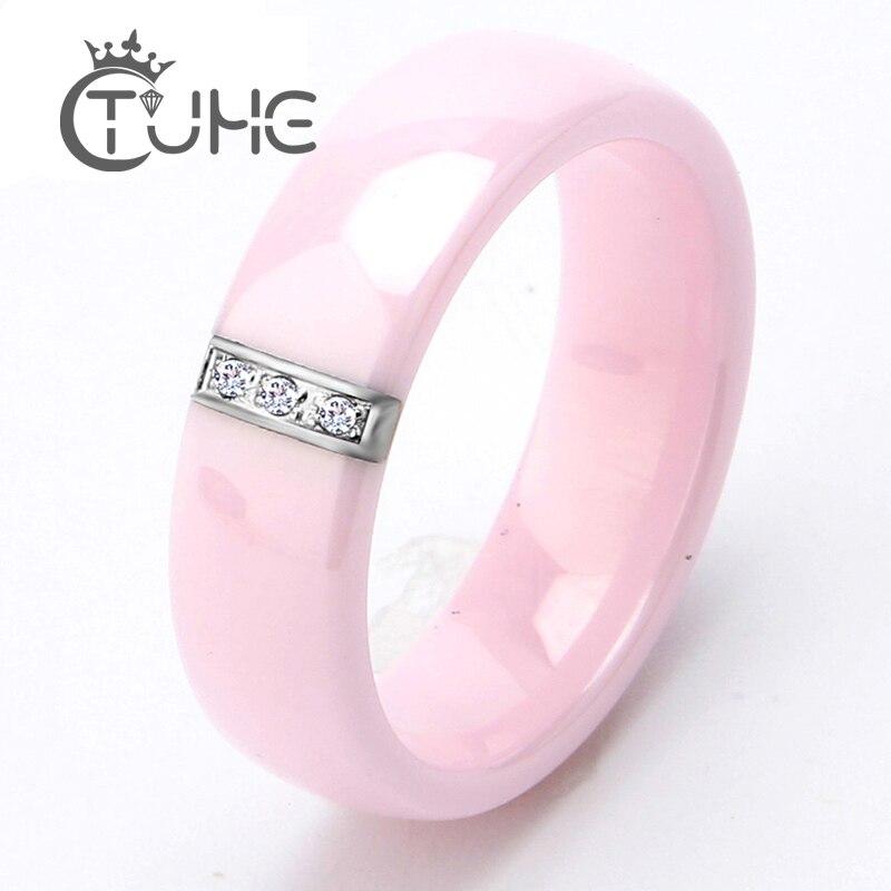 2017 6MM Inel roz Femei Cristal Oțel inoxidabil Inele de logodnă - Bijuterii de moda - Fotografie 1