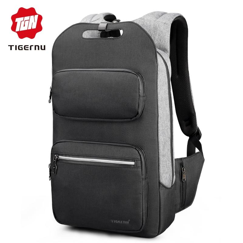 2019 Tigernu Men Backpack Fashion Casual Teenager School bag 15 6 Laptop Backpacks College Student USB