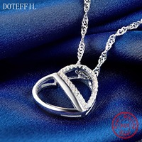 925 Sterling Silver Necklace Fashion Classic Women LOVE Heart Necklace AAA Zircon Charm Silver Jewelry