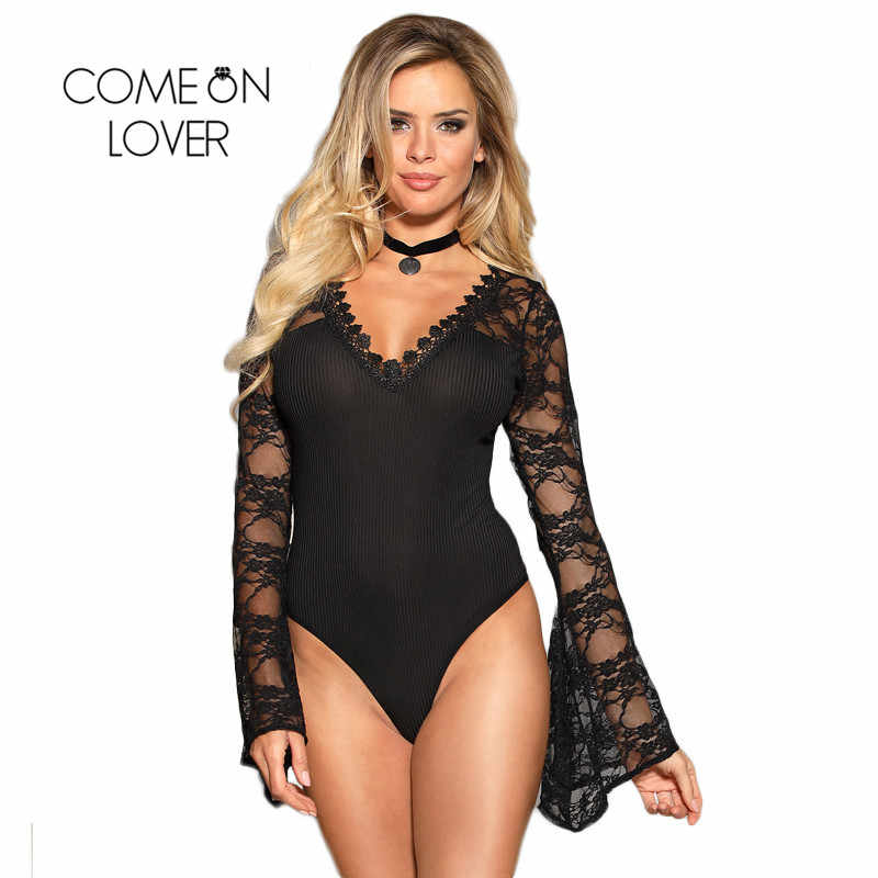 b7446511e1 Bell Long Sleeve Bodysuit Stretchy Mesh Lace Patchwork Party Jumpsuit Tops  Out Fit Playsuit Fashion Women