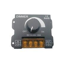 New LED Dimmer 12V~24V 30A MAX Black metal Shell led dimmer Center Knob control